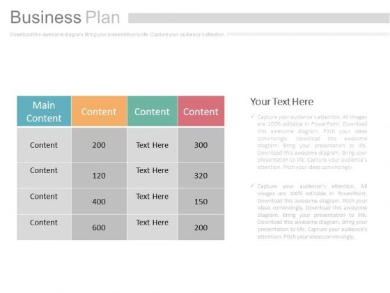 Table Chart For Business Plan Powerpoint Slides
