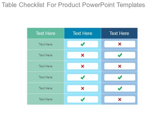Table Checklist For Product Powerpoint Templates