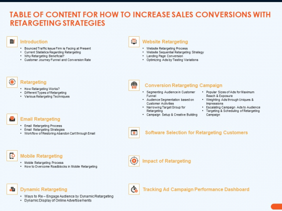Table Of Content For How To Increase Sales Conversions With Retargeting Strategies Download PDF