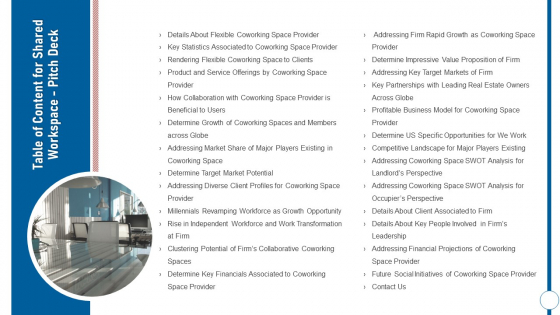 Table Of Content For Shared Workspace Pitch Deck Ppt Infographics Example Topics PDF
