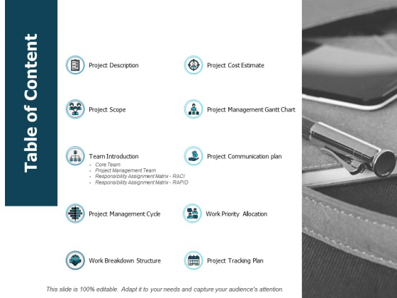 Table Of Content Project Management Cycle Ppt PowerPoint Presentation Inspiration Graphics Template