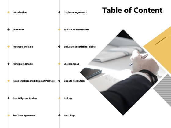Table Of Content Purchase Agreement Ppt PowerPoint Presentation Infographics Example File