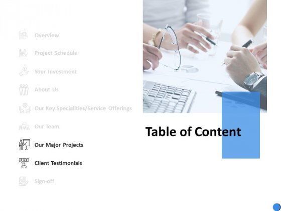 Table Of Content Testimonials Ppt Powerpoint Presentation Outline Influencers
