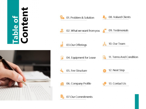Table Of Content Valued Clients Ppt PowerPoint Presentation File Icon