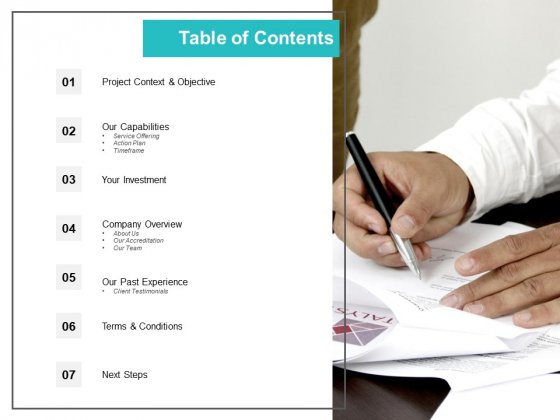 Table Of Contents Experience Ppt PowerPoint Presentation Infographic Template Deck