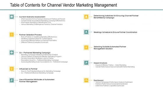 Table_Of_Contents_For_Channel_Vendor_Marketing_Management_Slides_PDF_Slide_1