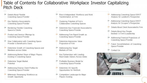 Table Of Contents For Collaborative Workplace Investor Capitalizing Pitch Deck Information PDF