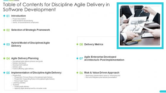 Table_Of_Contents_For_Discipline_Agile_Delivery_In_Software_Development_Template_PDF_Slide_1