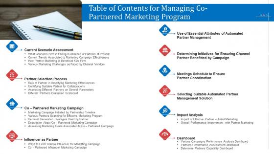 Table Of Contents For Managing Co Partnered Marketing Program Ppt Slides Skills PDF