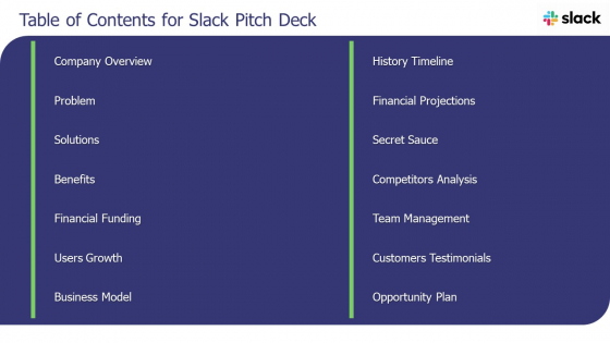 Table Of Contents For Slack Pitch Deck Ppt Summary Diagrams PDF