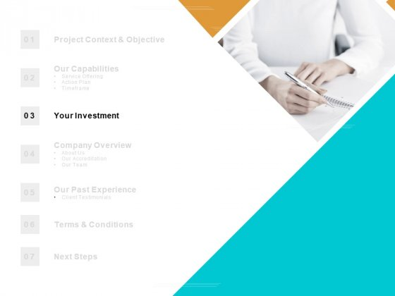 Table Of Contents Investment Ppt PowerPoint Presentation Slides Icons