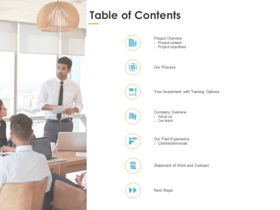 Table Of Contents Our Process Ppt PowerPoint Presentation Infographic Template Slideshow