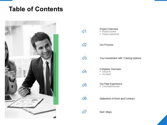 Table Of Contents Our Process Ppt PowerPoint Presentation Model Graphics Tutorials