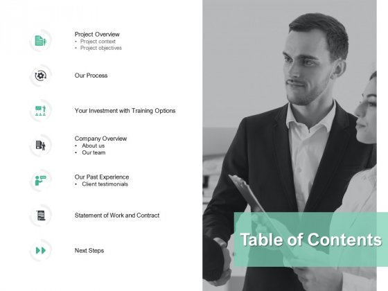 Table Of Contents Ppt PowerPoint Presentation Icon Elements