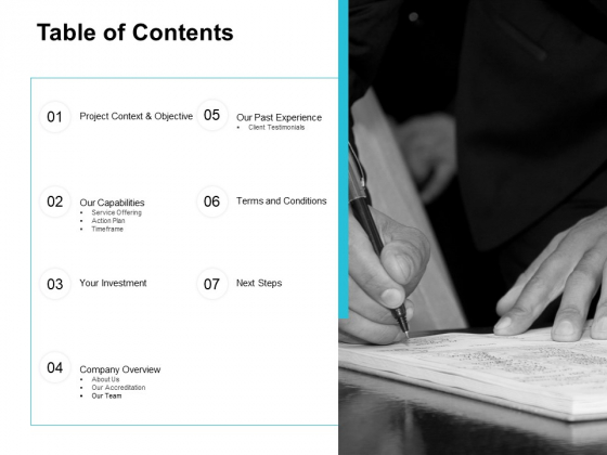 Table Of Contents Ppt PowerPoint Presentation Portfolio Background Designs