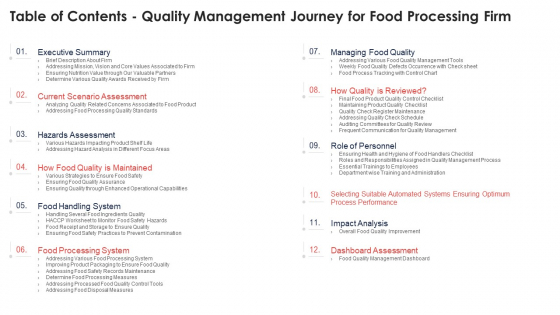 Table Of Contents Quality Management Journey For Food Processing Firm Professional PDF