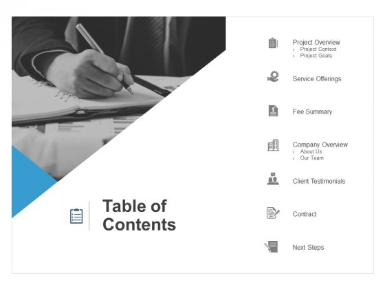 Table Of Contents Testimonials Ppt PowerPoint Presentation Gallery Portfolio