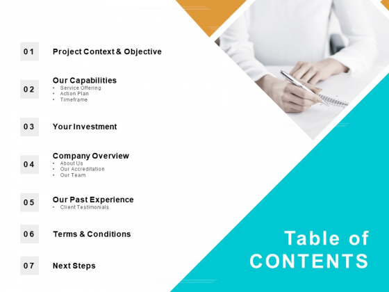 Table Of Contents Testimonials Ppt PowerPoint Presentation Professional Background Images