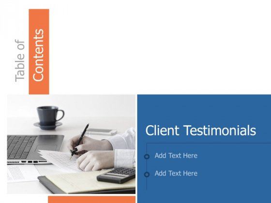 Table Of Contents Testimonials Ppt Powerpoint Presentation Styles Graphics Example