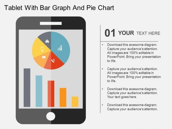 Tablet With Bar Graph And Pie Chart Powerpoint Templates