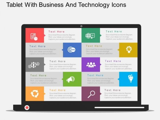 Tablet With Business And Technology Icons Powerpoint Template