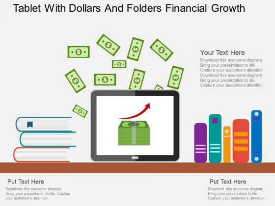 Tablet With Dollars And Folders Financial Growth Powerpoint Template