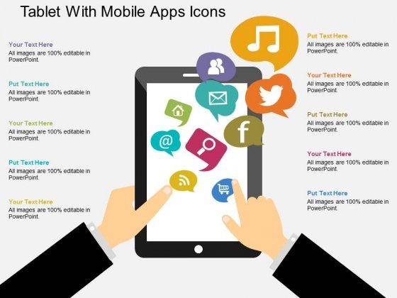 Tablet With Mobile Apps Icons Powerpoint Templates