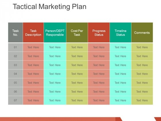 Tactical Marketing Plan Ppt Powerpoint Presentation Infographic