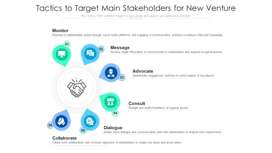 Tactics To Target Main Stakeholders For New Venture Ppt File Design Ideas PDF