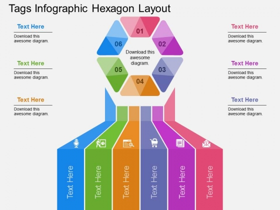 Tags Infographic Hexagon Layout Powerpoint Templates