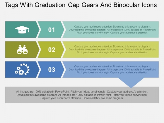 Tags With Graduation Cap Gears And Binocular Icons Powerpoint Templates