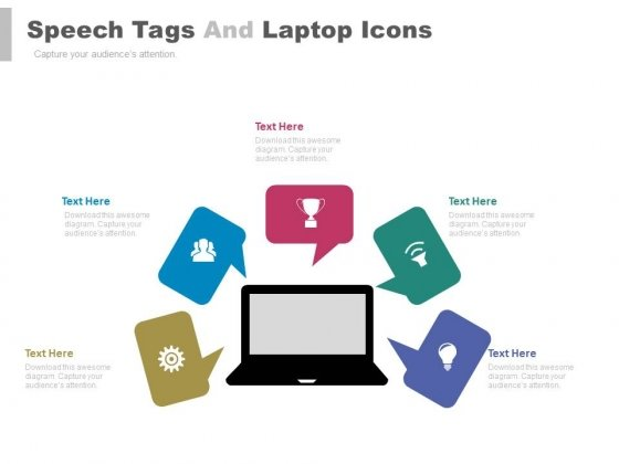 Tags With Laptop For Communication Strategy Powerpoint Template