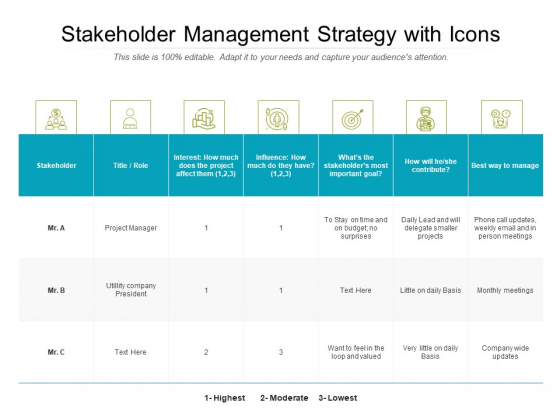 Takeholder Management Strategy With Icons Ppt PowerPoint Presentation Gallery Rules PDF