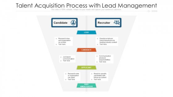 Talent Acquisition Process With Lead Management Ppt PowerPoint Presentation Gallery Graphics Template PDF