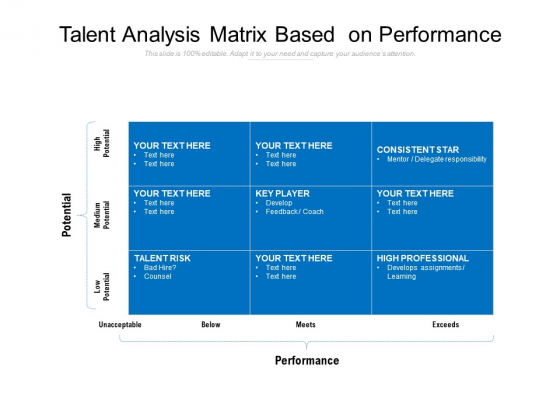 Talent Analysis Matrix Based On Performance Ppt PowerPoint Presentation Gallery Clipart PDF