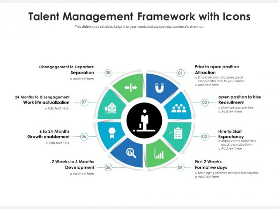 Talent Management Framework With Icons Ppt PowerPoint Presentation File Examples PDF