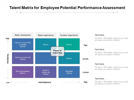 Talent Matrix For Employee Potential Performance Assessment Ppt PowerPoint Presentation Icon Layouts PDF