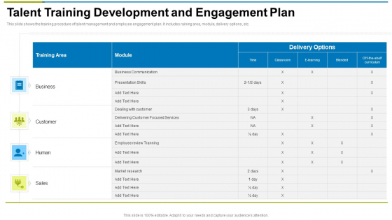 Talent Training Development And Engagement Plan Ppt Infographic Template Shapes PDF