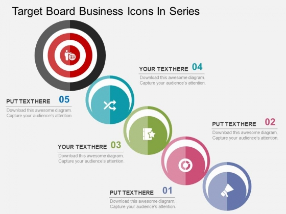 Target Board Business Icons In Series Powerpoint Templates