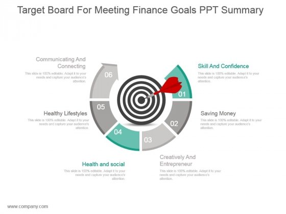 Target Board For Meeting Finance Goals Ppt Summary