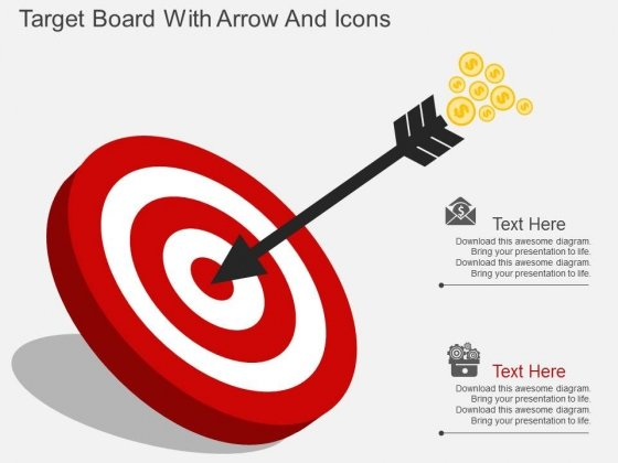 Target Board With Arrow And Icons Powerpoint Template