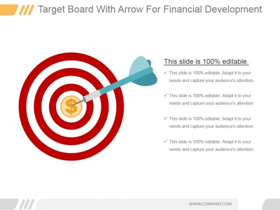 Target Board With Arrow For Financial Development Ppt PowerPoint Presentation Layouts