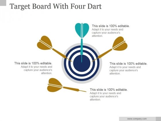 Target Board With Four Dart Ppt PowerPoint Presentation Visual Aids