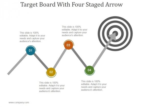 Target Board With Four Staged Arrow Ppt PowerPoint Presentation Information