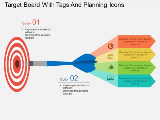 Target Board With Tags And Planning Icons Powerpoint Template