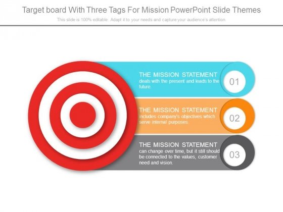 Target Board With Three Tags For Mission Powerpoint Slide Themes