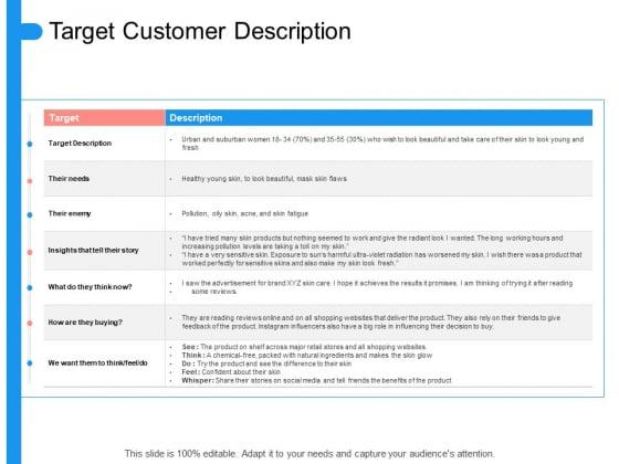 Target Persona Target Customer Description Ppt Infographics Graphics PDF