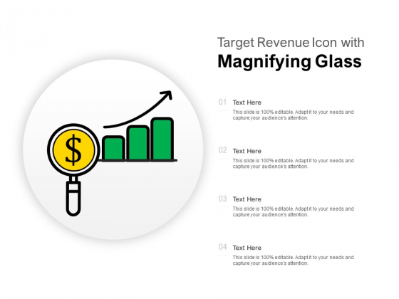 Target Revenue Icon With Magnifying Glass Ppt PowerPoint Presentation Pictures Vector