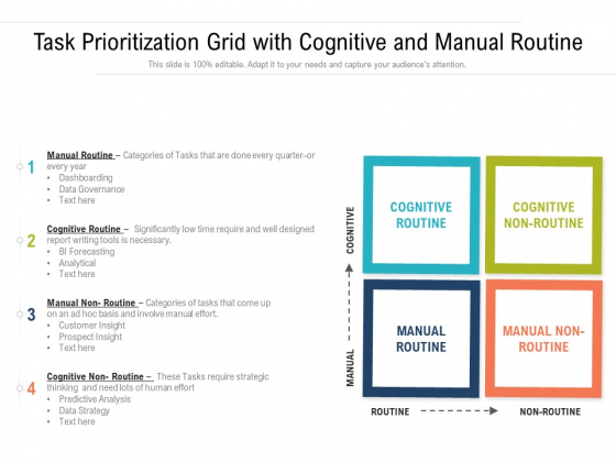Task Prioritization Grid With Cognitive And Manual Routine Ppt PowerPoint Presentation Gallery Graphics Design PDF