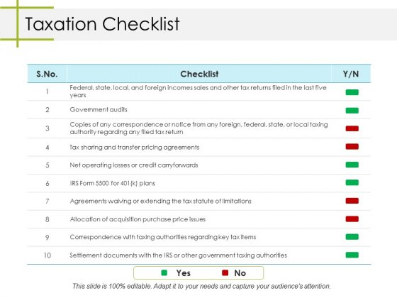 Taxation Checklist Ppt PowerPoint Presentation File Topics